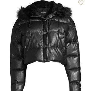 The kooples faux fur trimmed cropped puffer coat